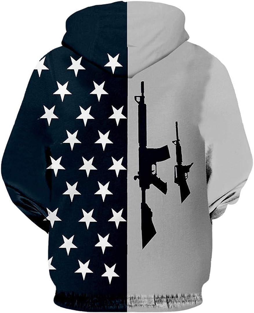 Zipper Hombres 3D Imprimir Bandera Americana y Pistola Sudadera ...
