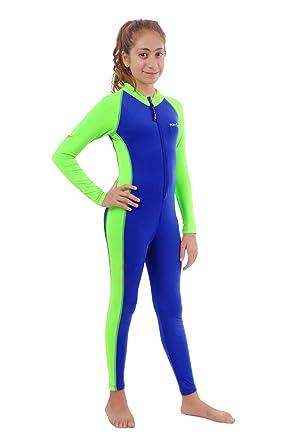 1a7cc650af6 EcoStinger Girls Full Body Swimsuit UV Swimwear Stinger Suit UPF50+ Chlorine  Resistant Blue Lime - Blue -: Amazon.co.uk: Clothing