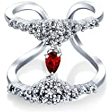 Bling Jewelry Red Glass Rhodium Plated Double Band CZ Ring