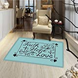 Hope Door Mats Area Rug Hand Lettering Spiritual Faith Hope Love Quote with Floral Arrangement Hearts Floor mat Bath Mat for tub 16''x24'' Pale Blue and Black