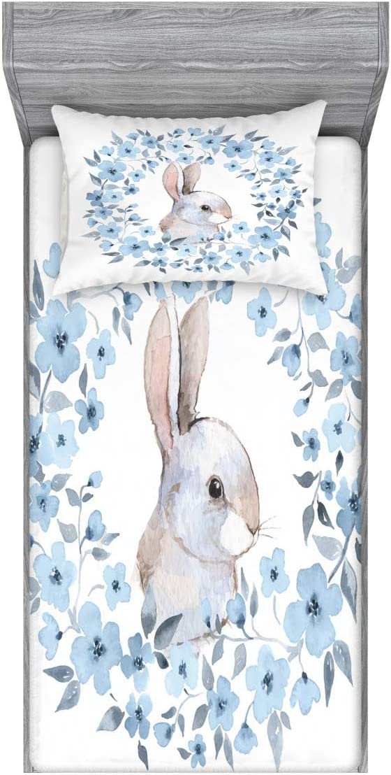 Ambesonne Watercolor Flower Fitted Sheet & Pillow Sham Set, Bunny Rabbit Portrait in Floral Wreath Illustration Country Style, Decorative and Printed 2 Piece Bedding Set, Twin, Blue White
