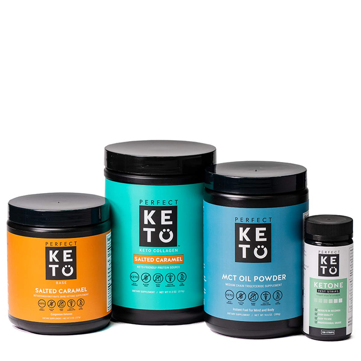 The Perfect Keto Starter Bundle for Ketogenic Diet   Best to Burn Fat and Support Energy   Includes Collagen, MCT Oil, Exogenous Ketone Base & Testing Strips (Salted Caramel) by Perfect Keto