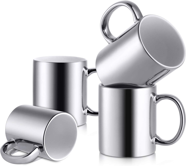 LIFVER Porcelain Novelty Coffee Mugs, Mug Gift Set, Mirror Finish & Dishwasher Safe, 12 Fluid Ounces (Top to the Rim), Set of 4, Silver