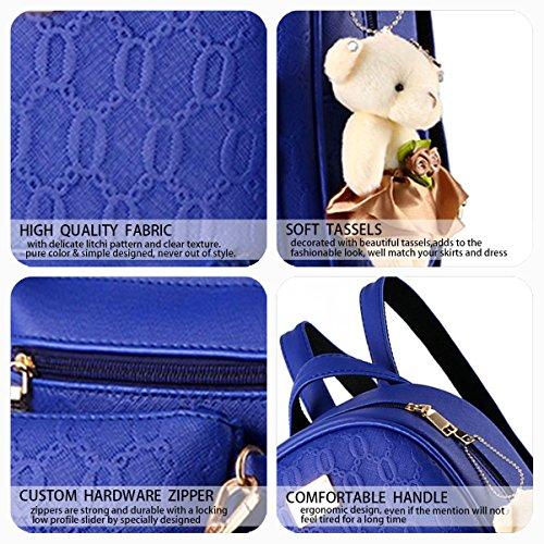 Sacs portable Sacs Femme Bleu bandoulière d'ordinateur Faux Sac Sacs Sacs Cuir Noir portés à bandoulière dos main portés fxw1nwOBqd