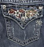 Miss Me Women's Beaded Yoke Boot Cut Denim Jean, Medium Blue, 27