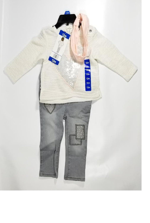 4T Ivory /& Grey JS Jessica Simpson 3-piece Set Size