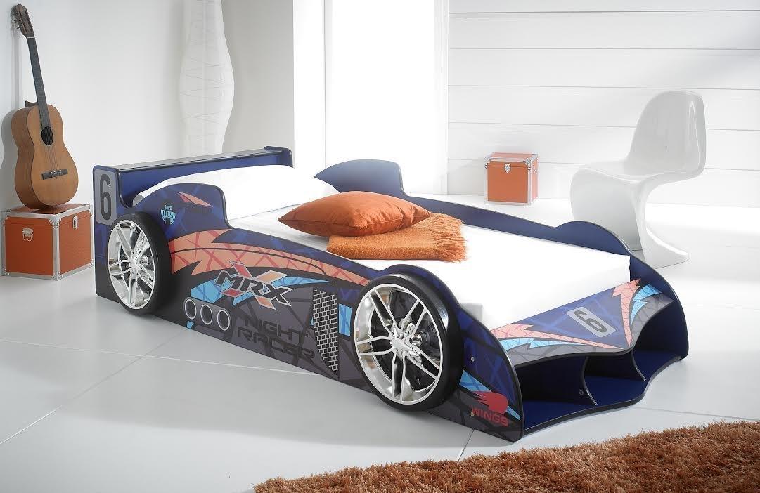 MRX thegadgetbay - Los niños coche de carreras de la cama y Monarch Roma solo Belguim damasco colchón: Amazon.es: Hogar