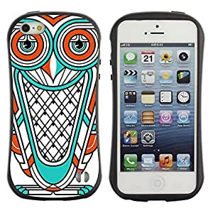Hybrid Anti-Shock Bumper Case for Apple iPhone 5 5S / Cool Owl Tattoo