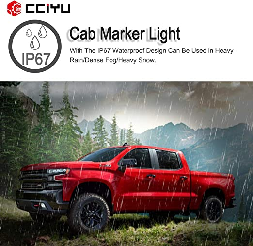 cciyu 3pcs Smoke Cab Marker Light Cab Roof Running Top Clearance Marker Light Assembly T10-10-3528-SMD White with Wiring Pack Replacement fit for 2002-2007 Chevy Silverado//GMC Sierra 1500 2500HD 3500