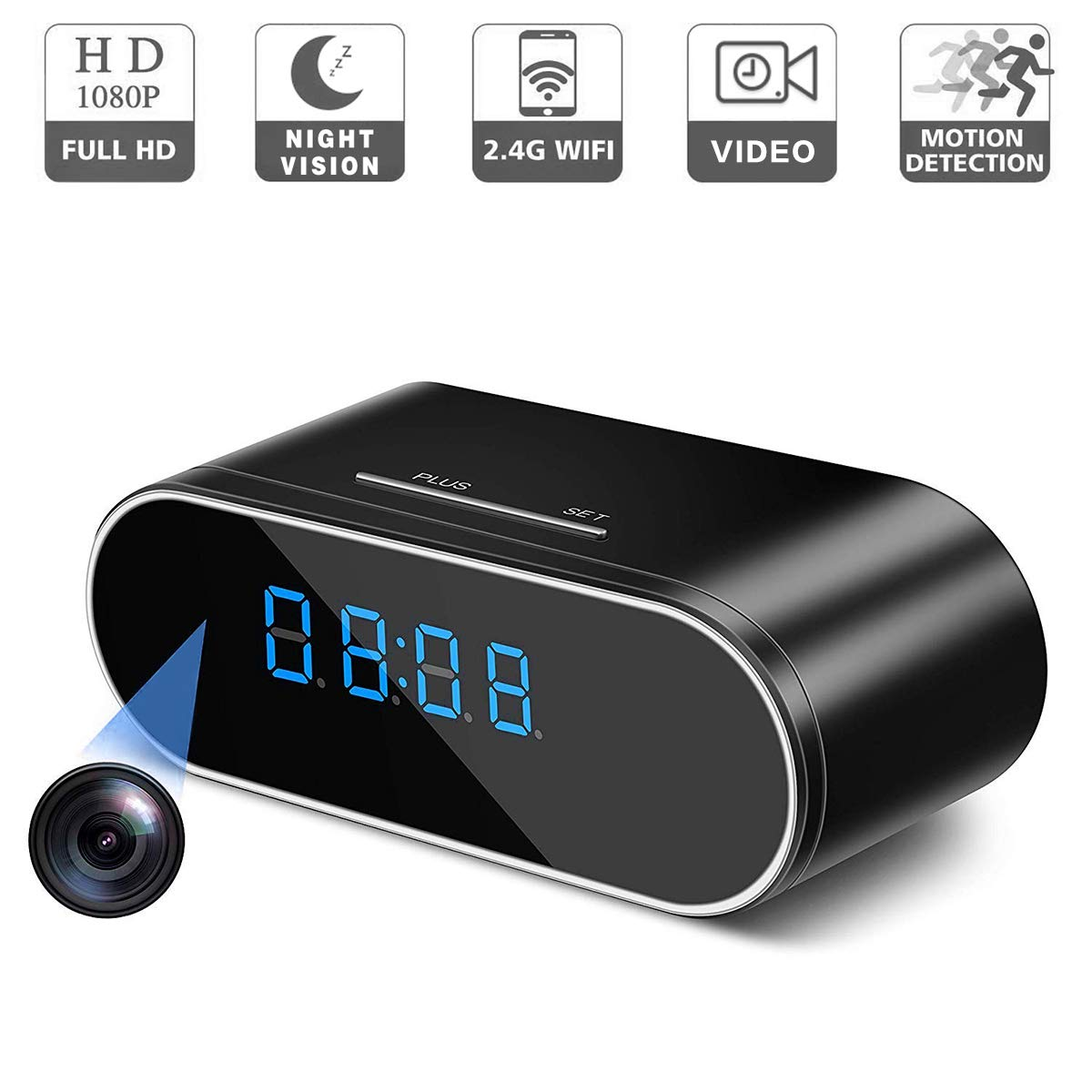 RZATU - Hidden Camera Alarm Clock - Spy Camera Wireless - Nanny Camera WiFi - Mini Home Security Monitoring Cam with Cell Phone iPhone Android App - 1080P HD - Night Vision Motion Detection by RZATU