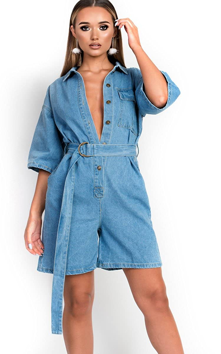 0bf021e9a75 Ikrush Womens Kirstee Overd Denim Playsuit  Amazon.co.uk  Clothing