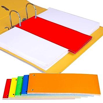 Separadores de tarjetas A4 1/3 para carpetas de anillas con palanca, carpetas de