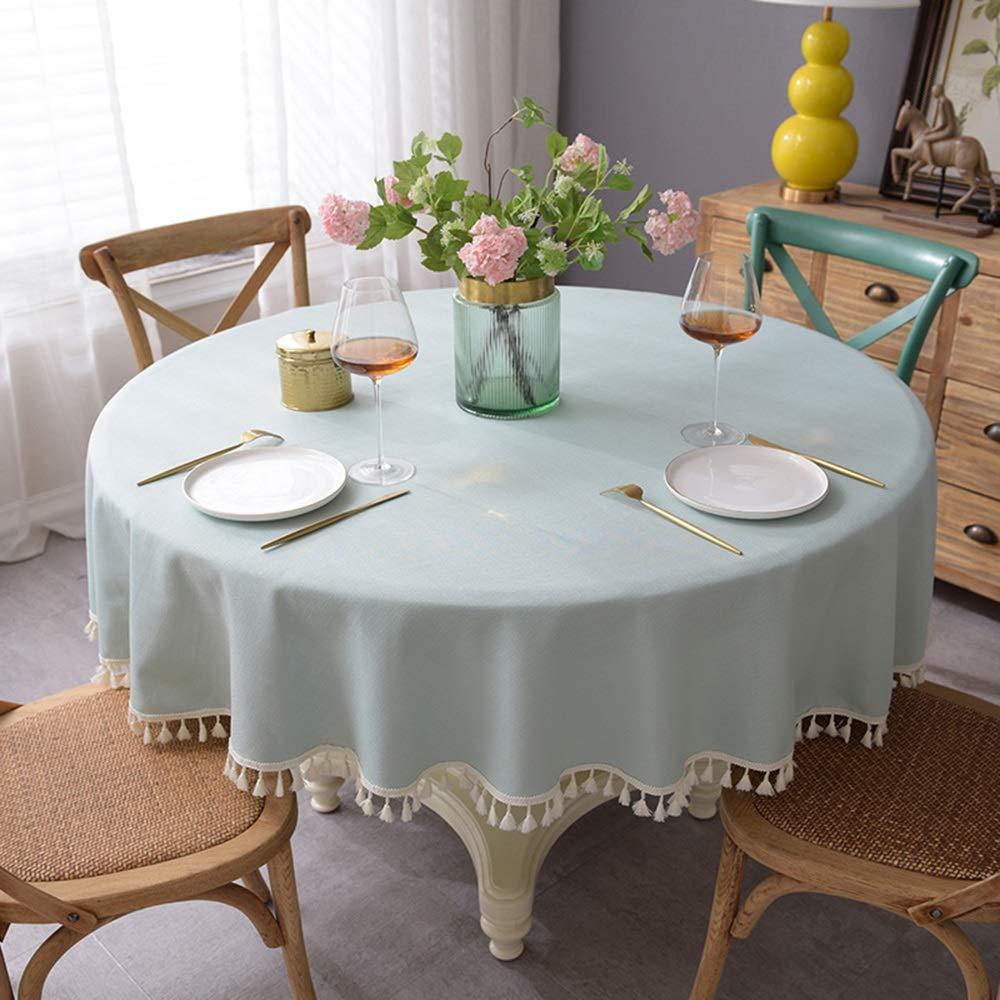 Nuanxin 北欧風のシンプルなファッションのテーブルクロスを洗うの無料 布素材はラウンドテーブルの断熱テーブルクロス、テーブルテーブルのコーヒーゲストラウンドテーブルのテーブルクロスを浸すことは容易ではない D12 (Color : Blue, Size : 200cm) 200cm Blue B07SXJT6TR