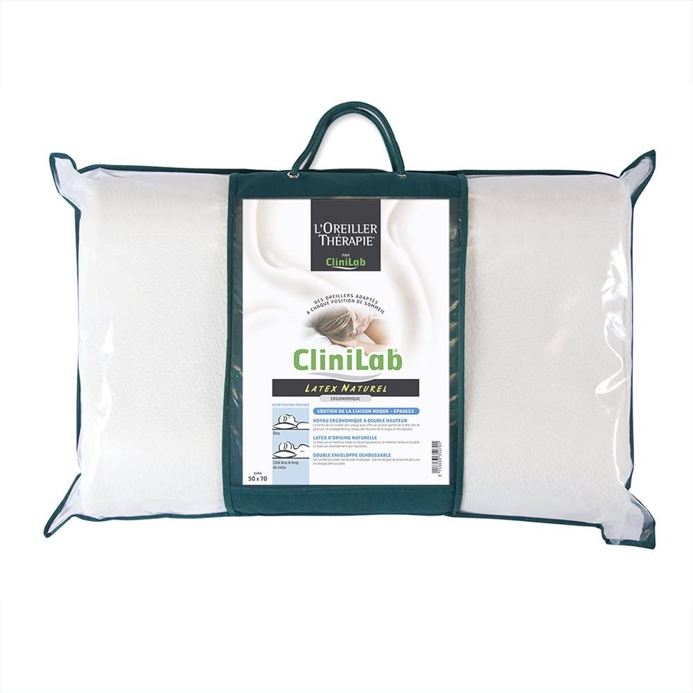 Clinilab CLL ERGO Oreiller Rectangulaire Ergonomique Latex Blanc 60 x 38 x 14 x 12 cm