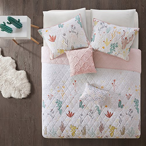 LV 4 Piece Girls White Pink Cactus Themed Coverlet Twin XL Set, Love Cacti Bedding Cactaceae Succulent Plant Desert Outback Preppy Chic Polka Dot Pattern, Pastel Yellow Green, Cotton