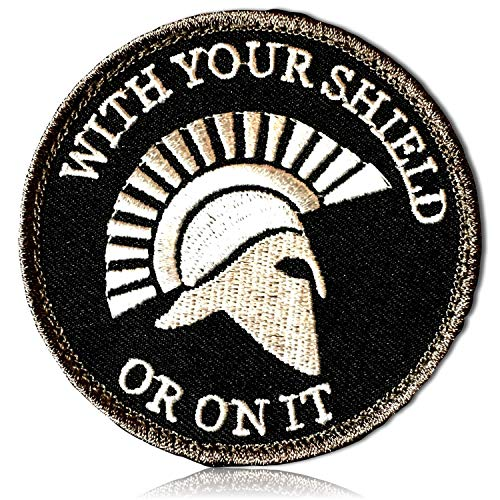 Outlined Round Circle with Your Shield or On It Text Roman Soldier Legendary Spartan Warrior Armor Mohawk Helmet Side Profile Hook & Loop Fastener Patch [3