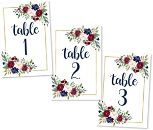 1-25 Burgundy Floral Table Number Double Sided Signs For Wedding Reception, Restaurant Birthday Party Set Calligraphy Printed Numbered Card Centerpiece Decoration Setting Reusable Frame Stand 4x6 Size