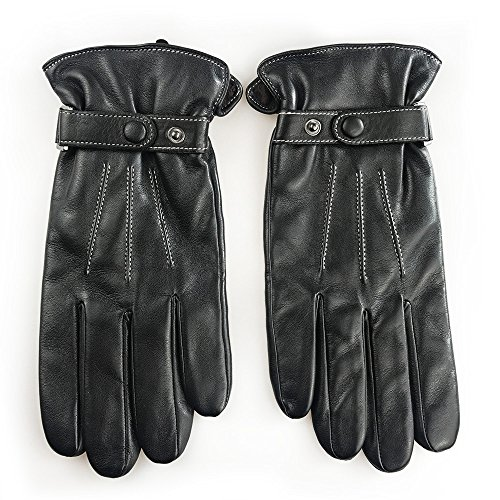 Men's Classic Winter Touchcreen Genuine Leather Motorcyle Gloves with Belt (Black, Large (9))