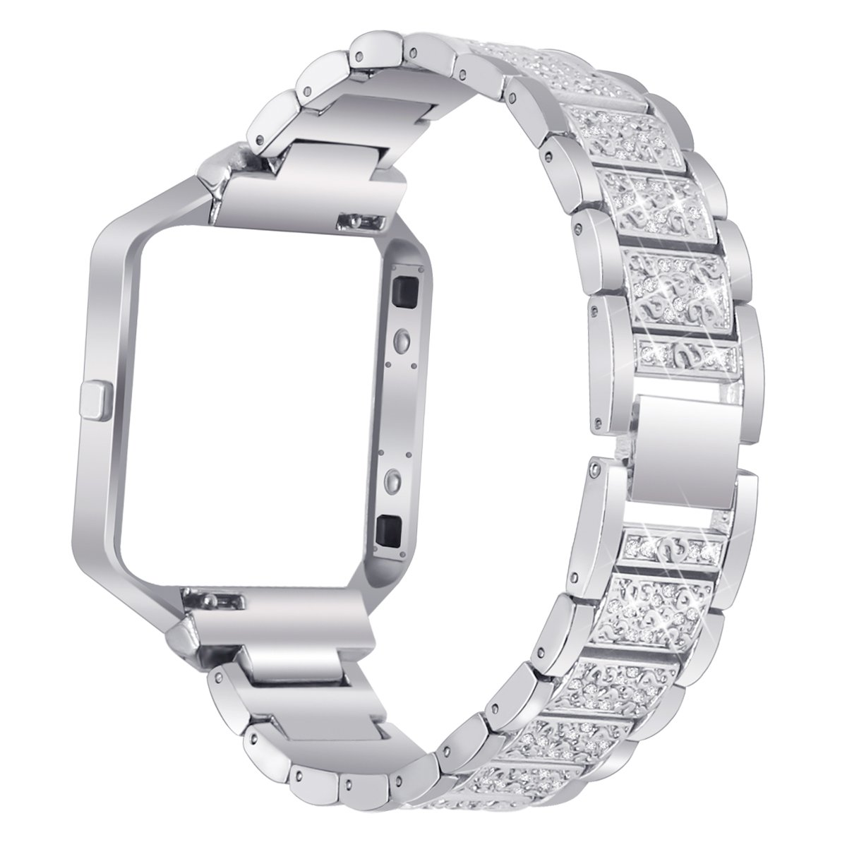 Stainless Steel Bands for Fitbit Blaze Replacement Band Strap with Rhinestone Bracelet Smart Watch Silver