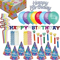 Birthday Party Accessories - Hats, Blowouts, Candles, Cake Toppers, Candles, Birthday Banner, Happy Birthday Table Cover, Balloons, Squiggle Straws