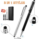 "Stylus,iDream365(TM) 2pcs 3-in-1 Stylus Pen(5.7"" Length,Stainstainless Steel) for All Capacitive Touch Screen Smartphones,Tablets PC(Extra 2 Refills+8 Rubber Tips) With Gift Box-Black&Silver"