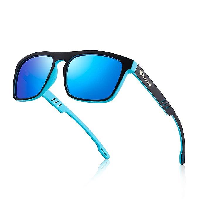 a1c1130b94 Divvsck Mens Sports Polarized Sunglasses Uv Protection Square Sunglasses  for Men Women (Black-