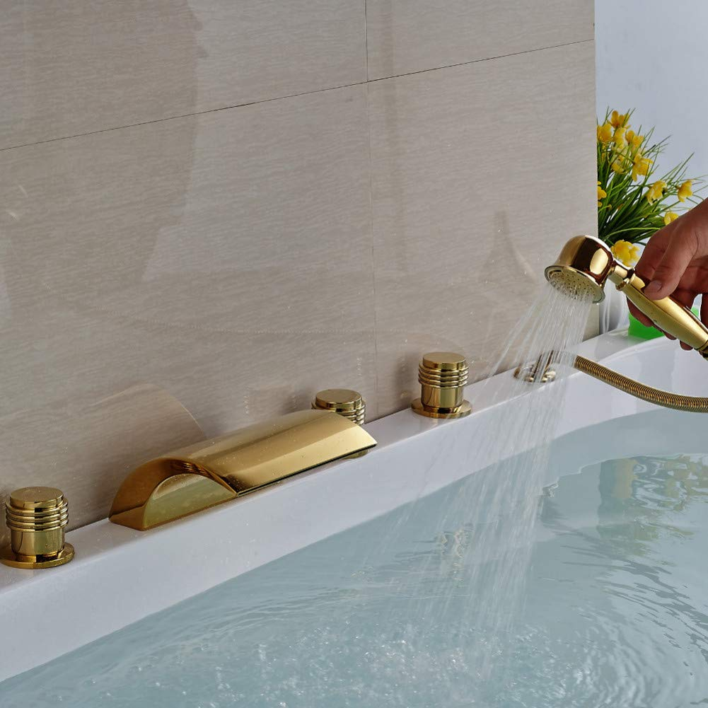 HUASAA Luxus Verbreitet Messing Badewanne Wasserhahn 5 stücke Goldene Badewanne Mischbatterie mit Handbrause Deck Montiert