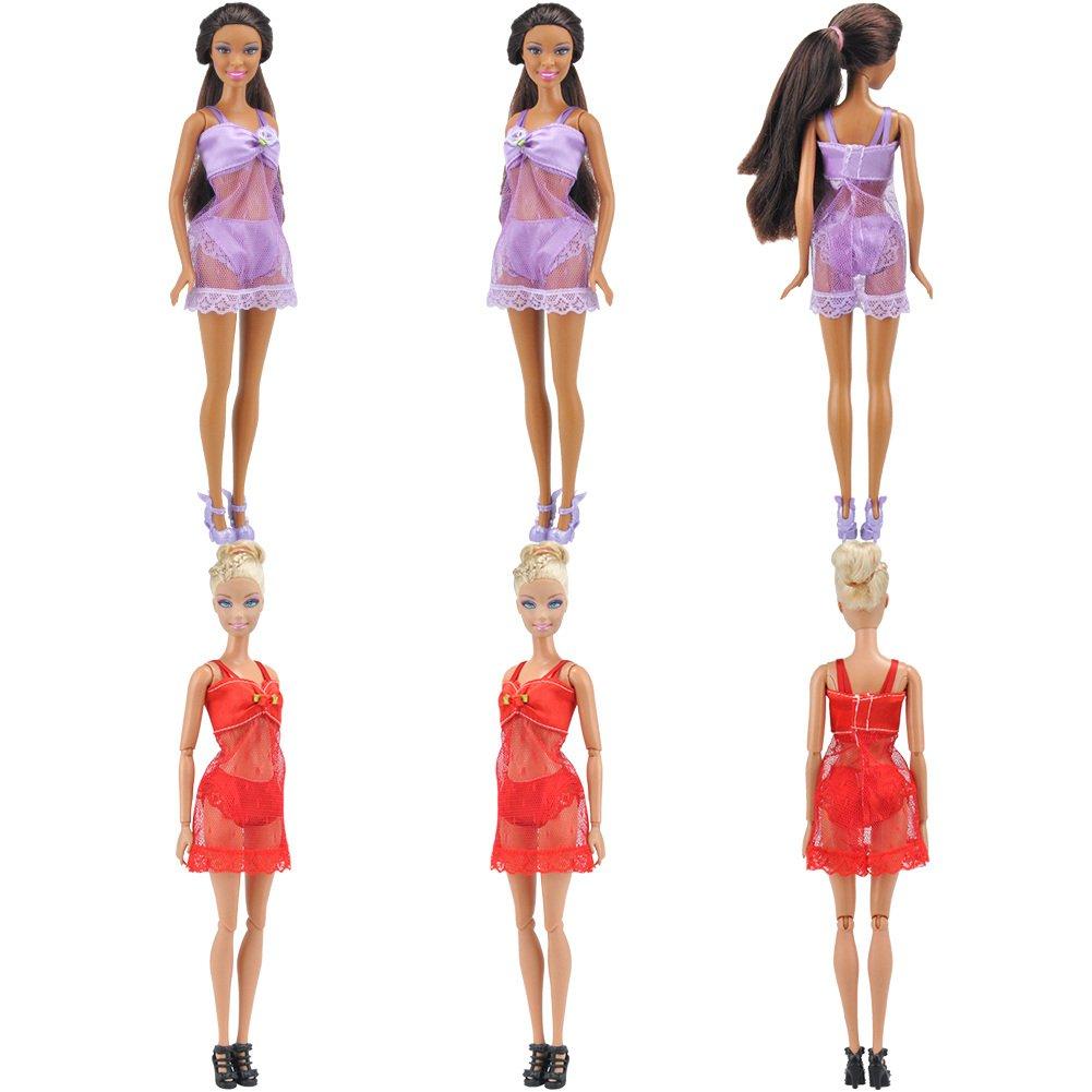Amazon.es: E-TING 6 Conjuntos de Moda Ropa de Dormir Sexy Pijamas Ropa Interior Ropa Interior Sujetador Vestido de Encaje Ropa para Barbie Muñecas de ...