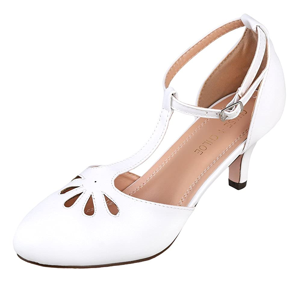 1920s Wedding Shoes | Art Deco Wedding Shoes Chase & Chloe Kimmy-36 Womens Teardrop Cut Out T-Strap Mid Heel Dress Pumps $40.00 AT vintagedancer.com