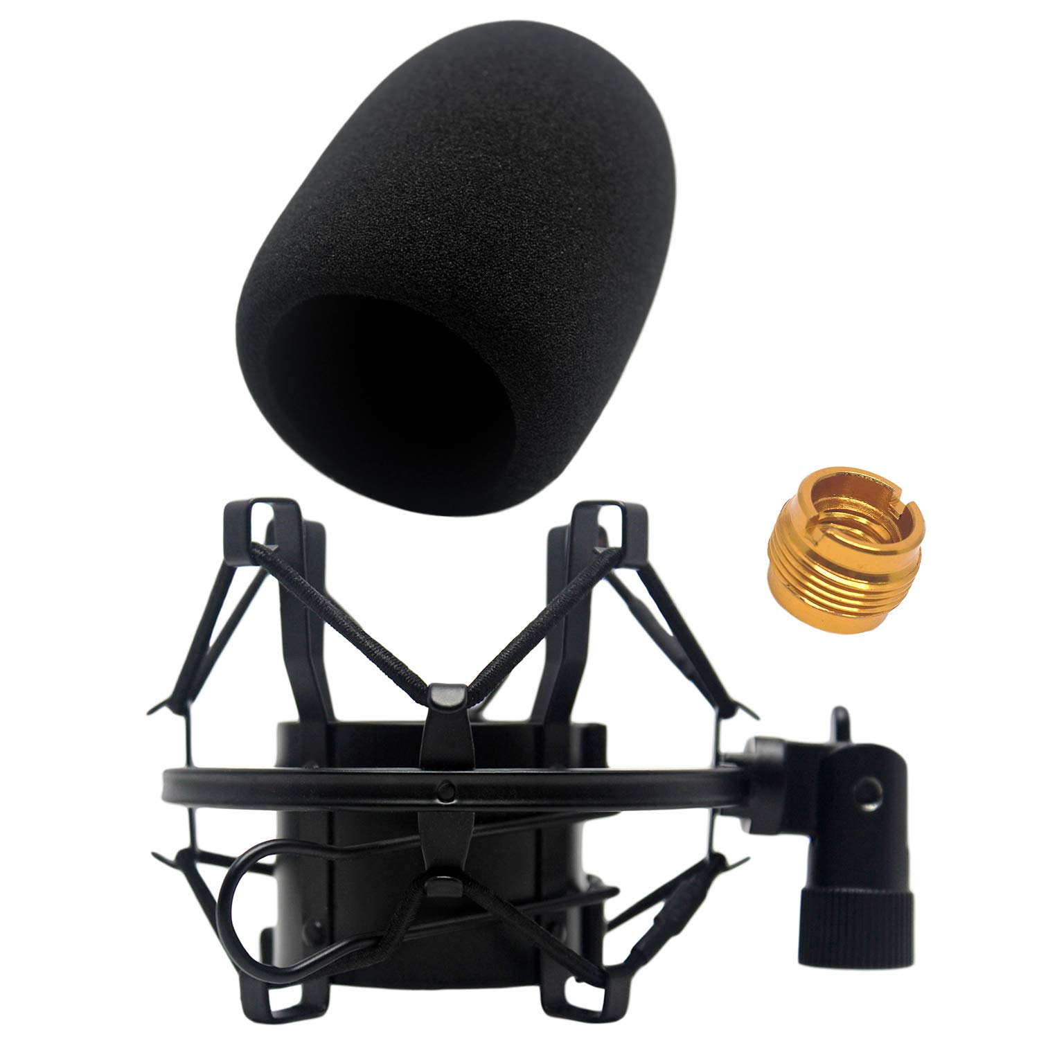 AT2020 Foam Windscreen with Shock Mount by Vocalbeat - Mount Made from Quality Materials to Eliminate Vibrations - Acoustic Foam Act as a Pop Filter for your Mic - Black Bundle