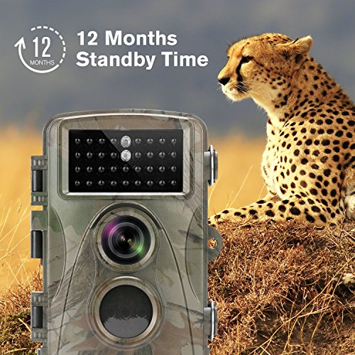 TECBEAN Trail Camera 12MP 1080P Full HD Hunting Game Camera 34PCS 850NM No Glow Black Infrared LEDs With Night Vision Up To 65 Feet for Wildlife Monitoring Game Trail Cameras
