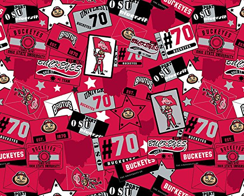 Cotton Ohio State University Buckeyes Brutus Patchwork College Cotton Fabric Print by the yard (sohs088s)