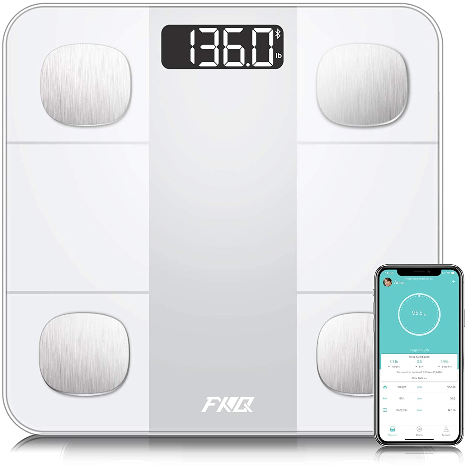 Bluetooth Body Fat Scale, Digital Body Weight Bathroom Scale Tracks 14 Compositions, Smart Wireless BMI Body Analyzer Scale with Smartphone App, Large LCD Backlit, 396Lb