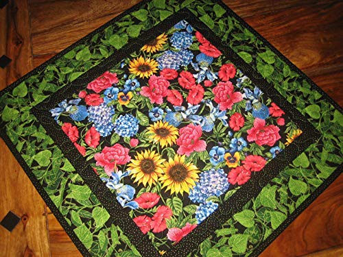 Quilted Table Topper Sunflower Roses Iris Pansies Summer Reversible 21x21 in. from Tahoe Quilts