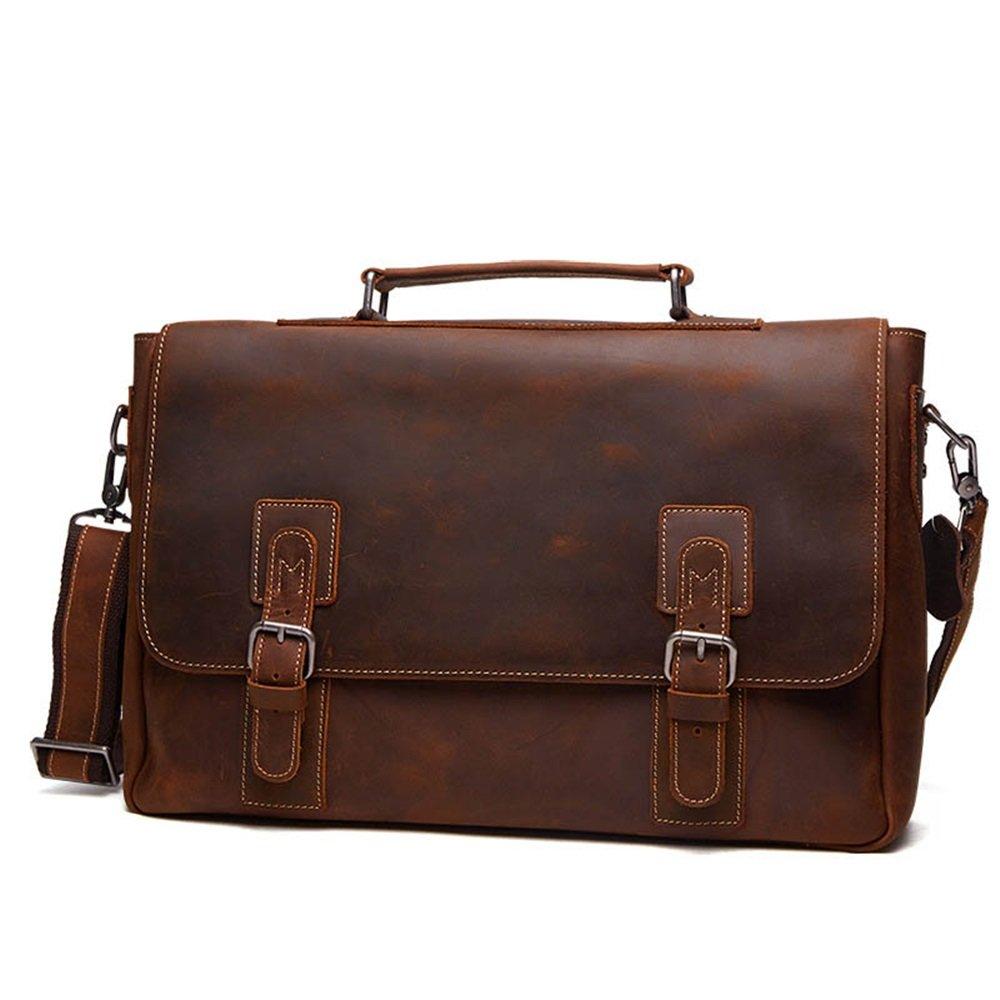 Amyannie Laptop Messenger Bag Mens Vintage Leather Briefcase for Business Tote Messenger Bag 15.6 inch Laptop Handbag (Color : Brown) by Amyannie (Image #2)