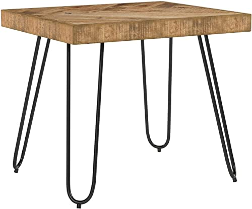 Mindful Living Rustic Farmhouse Mid Century Modern Fusion Mango Wood Top and Iron Hairpin Legs Chevron Pattern Rectangular Accent End Table
