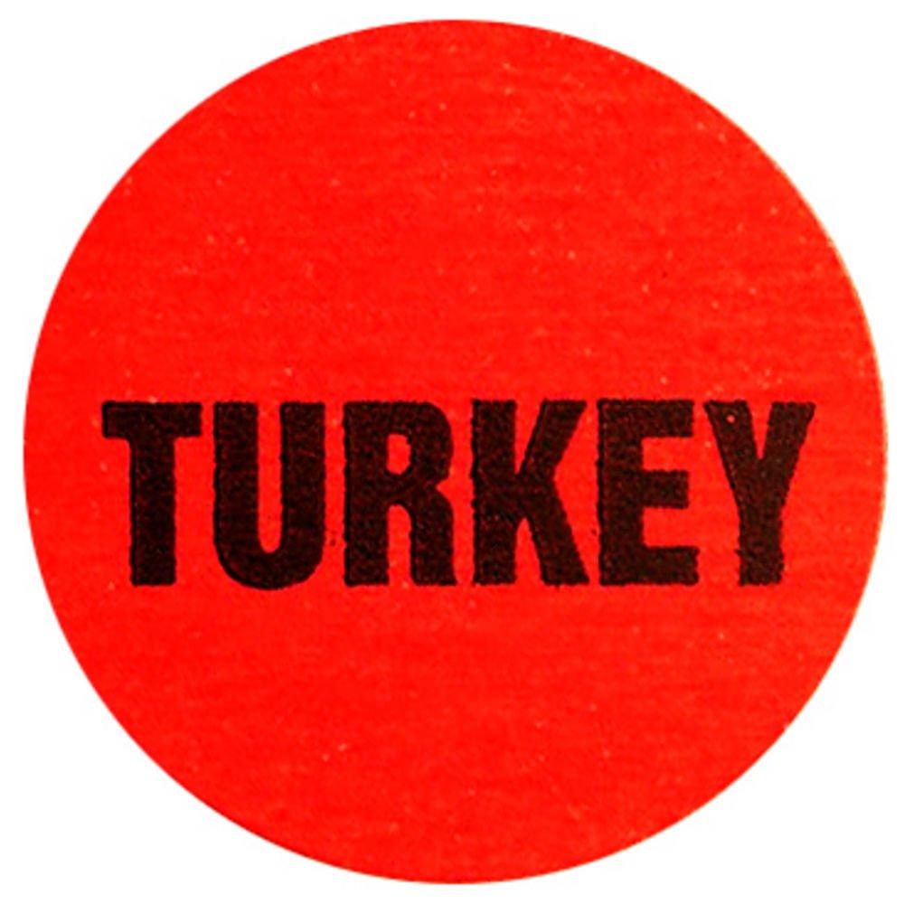 Turkey Label Red Deli Dot Packaging Labels Black Imprint 1Dia 1000 Per Roll