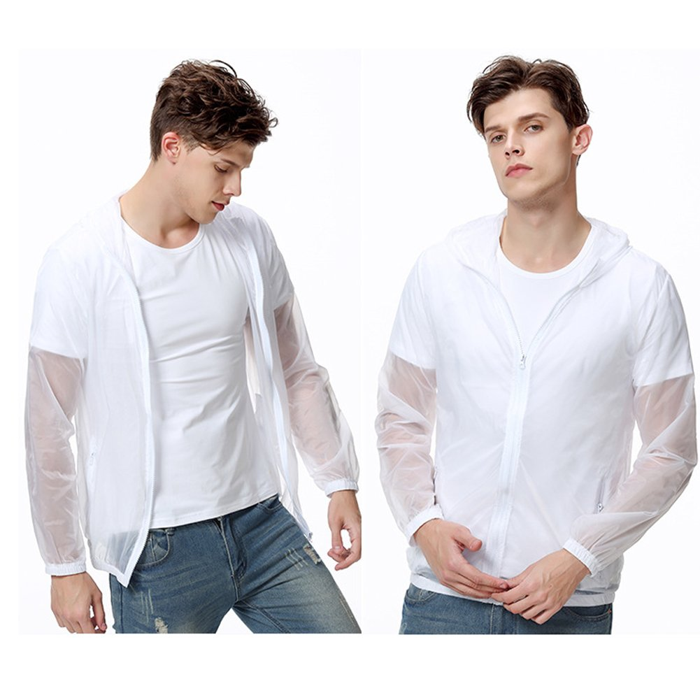 White Andy Pansy Lightweight Waterproof Jacket Quick Dry Skin Coat Outdoor Cycling Running Sport