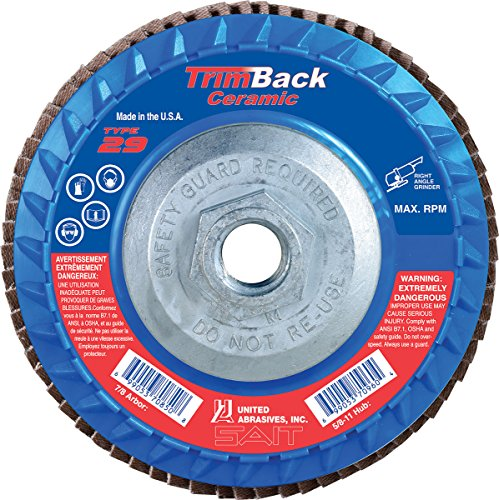 United Abrasives-SAIT 70921 Trimmable Flap Disc For Angle Grinder, 10per Box, 36 Grit, 4.5