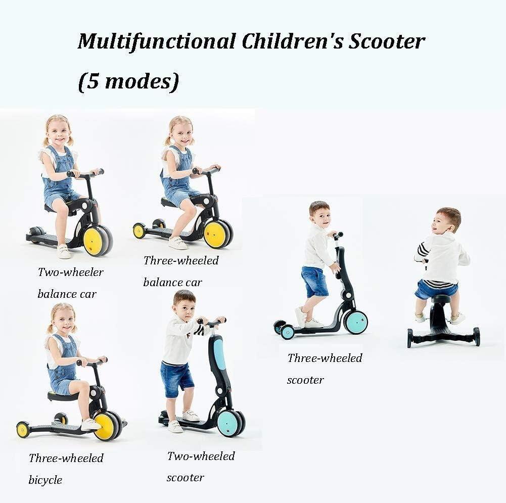 RENKUNDE ペダルとシート、男の子/女の子/ youngersについては3つの車輪の高さ調節可能なスクーター黄5・イン・子供1ステップ、バランスの取れた三輪車 スクーター