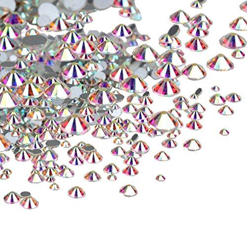 Jaciya 1800 Pack AB Round Crystal Rhinestones Flat Back Rhinestones Gems 2 mm 3 mm 4 mm 5 mm 6 mm Mix Size for Nail Art DIY ()