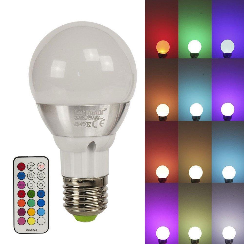 1x LED RGB Lampen Extrastar E27 16 Farben 4W Farbwechsel Licht ...