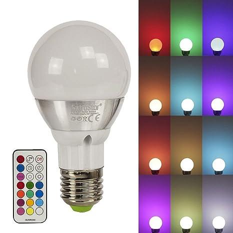 Lampada Led Con Telecomando.Lampada Led E27 Rgb 16 Colori 3 Intensita 2 Modalita Con