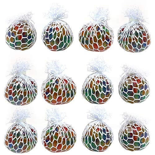 Big Mo's Toys Mesh Balls - Squishy Fidget Balls Stress Reliever Party Favors - 12 Pack