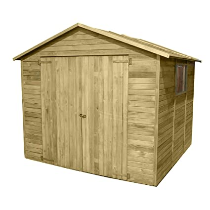 Caseta de madera impregnada tratada en autoclave, doble puerta, ventana, portaherramientas 03-