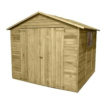 Caseta de madera impregnada tratada en autoclave, doble puerta, ventana, portaherramientas 03-26: Amazon.es: Bricolaje y herramientas