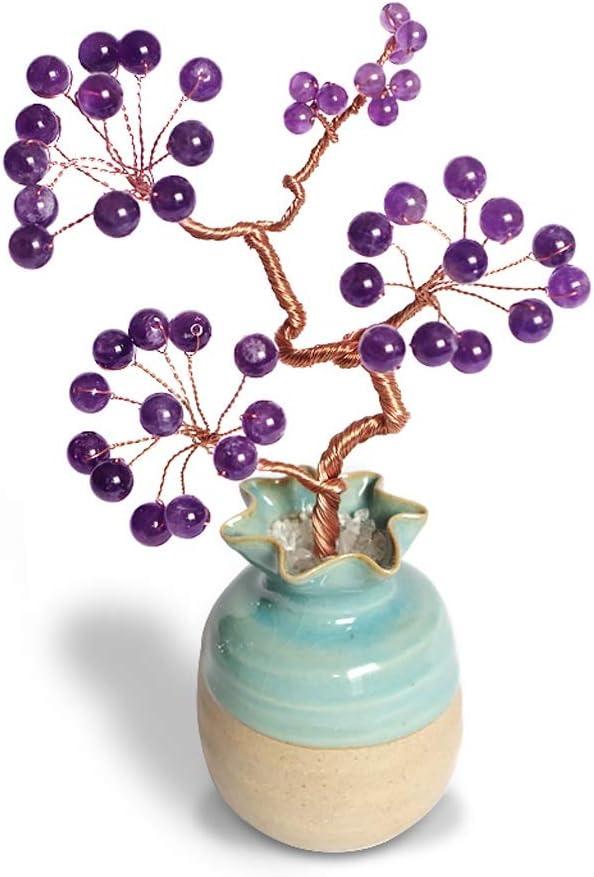 Ornamento de Escritorio Regalos de cristal Árbol Inicio cumpleaños decoraciones Bonsai fortuna árbol del dinero for la buena suerte riqueza prosperidad Home Office Decor espiritual regalo artesanías d
