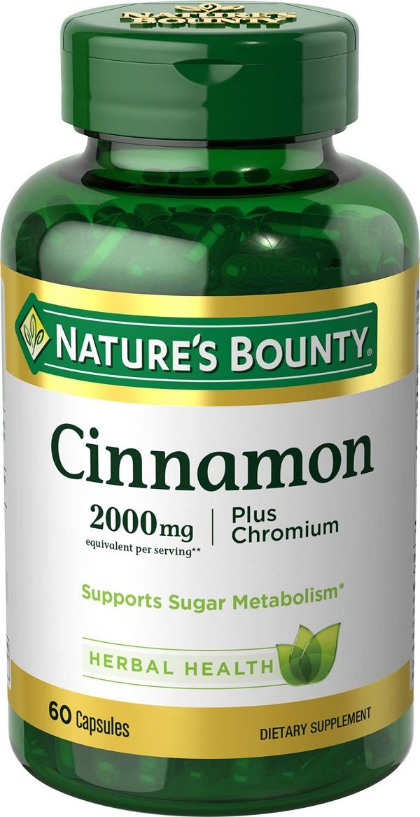 Nature's Bounty Cinnamon 2000mg, Plus Chromium, 60 Capsules
