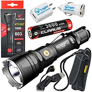 Klarus XT12GT CREE XHP35 HI D4 Rechargeable LED Flashlight 3600mAh 18650 Battery Included with LightJunction 1A USB Car and Wall Plugs