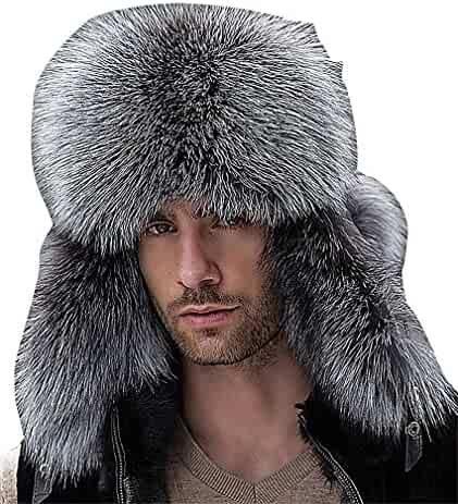 edd682e4 Celino Men's Real Fox Fur Gentle Fluffy Extra Warm Adjustable Russian  Winter Hat